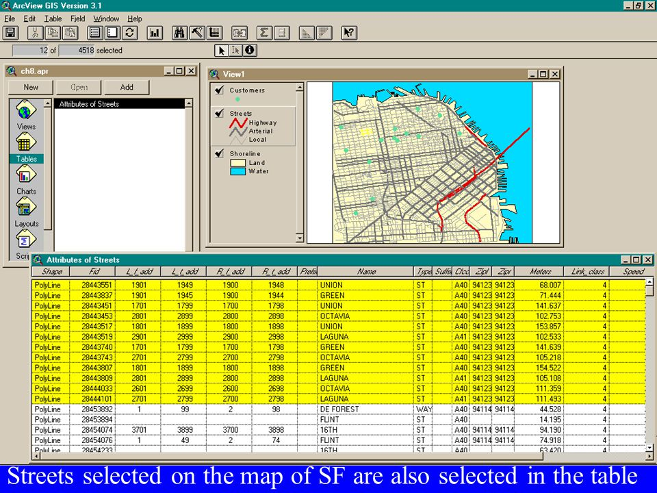 Streets selected on the map of SF are also selected in the table