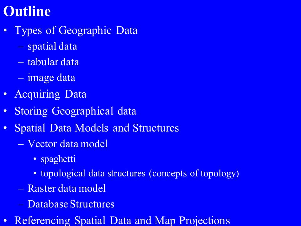 Outline Types of Geographic Data Acquiring Data