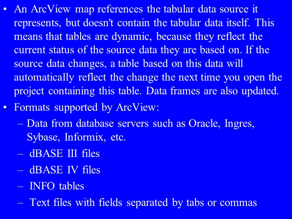An ArcView map references the tabular data source it represents, but doesn t contain the tabular data itself. This means that tables are dynamic, because they reflect the current status of the source data they are based on. If the source data changes, a table based on this data will automatically reflect the change the next time you open the project containing this table. Data frames are also updated.