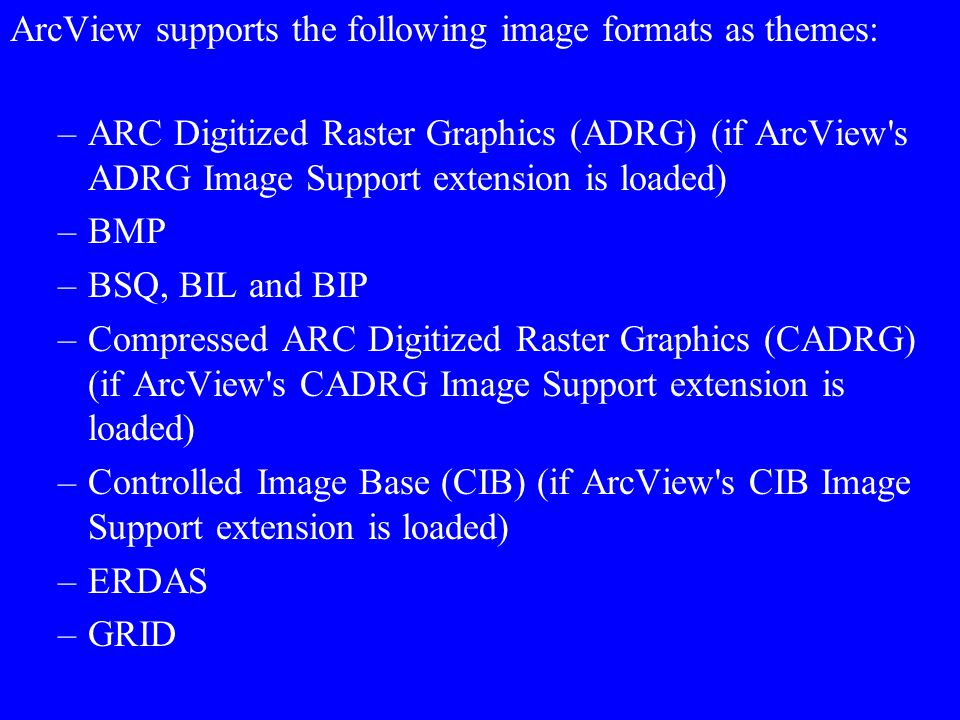 ArcView supports the following image formats as themes: