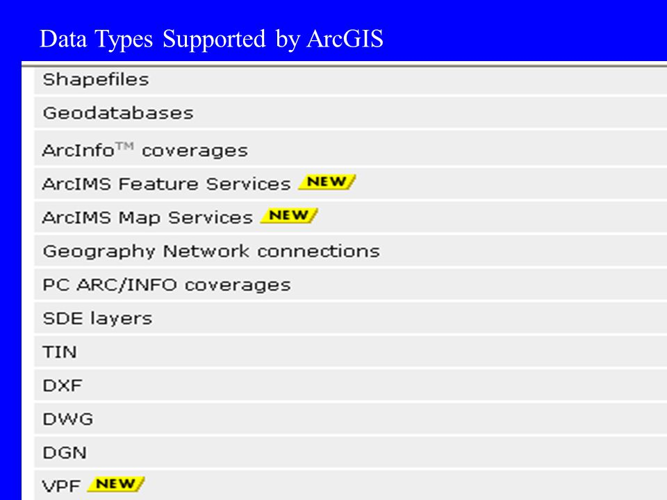 Data Types Supported by ArcGIS