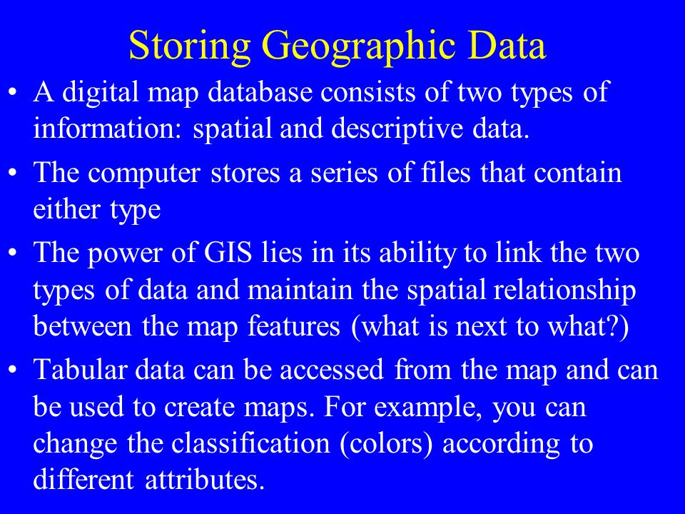 Storing Geographic Data
