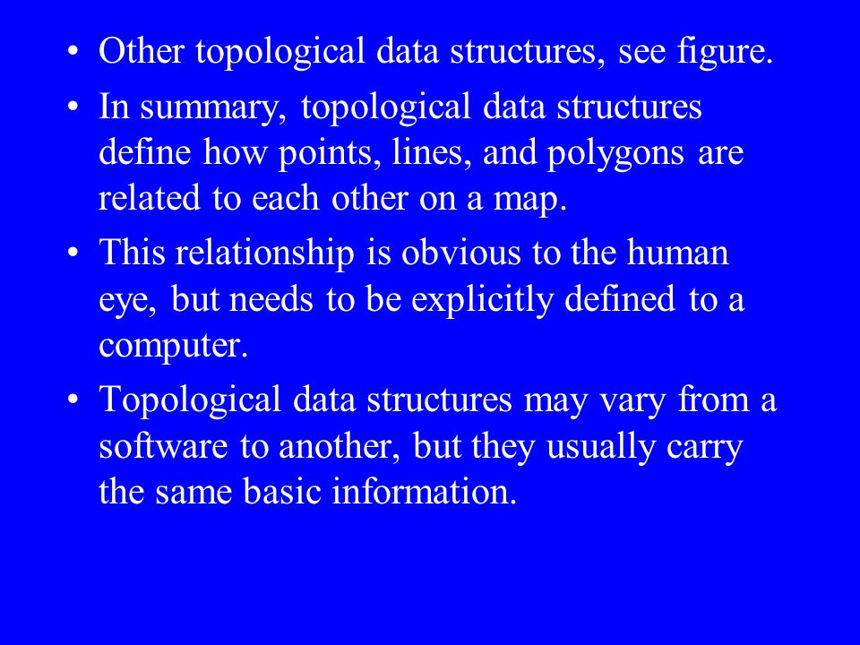 Other topological data structures, see figure.