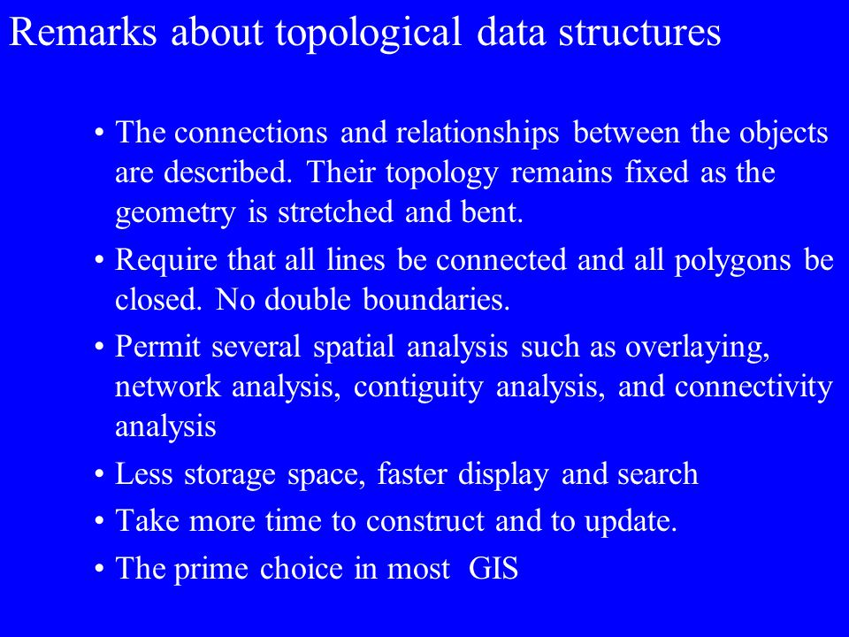 Remarks about topological data structures