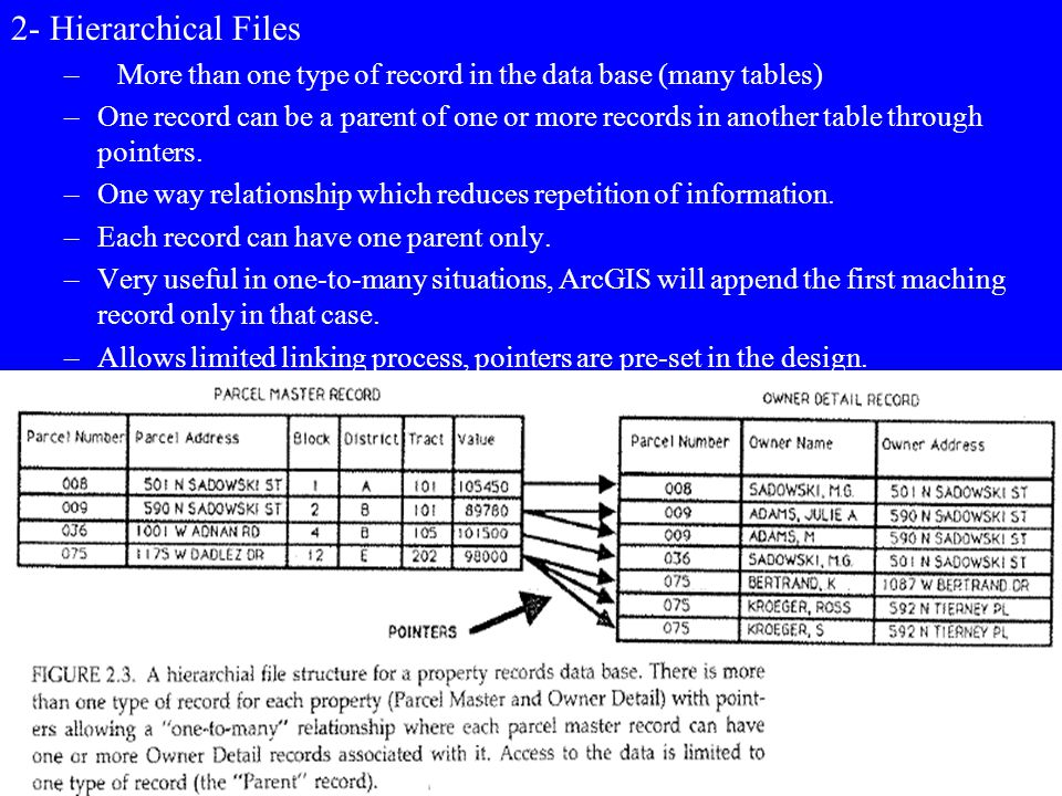 2- Hierarchical Files More than one type of record in the data base (many tables)