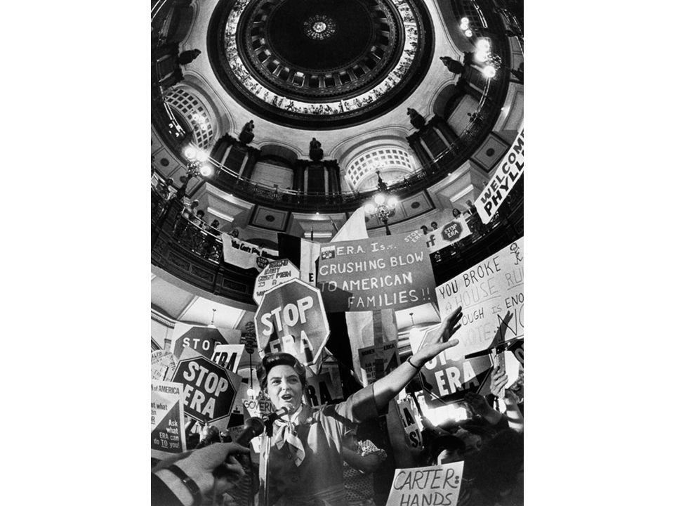 fig26_16.jpg Page 1052 (top): Conservative Phyllis Schlafly campaigning against the Equal Rights Amendment at the Illinois State Capitol in 1978.