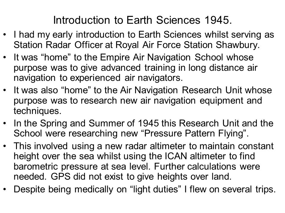 Introduction to Earth Sciences 1945.
