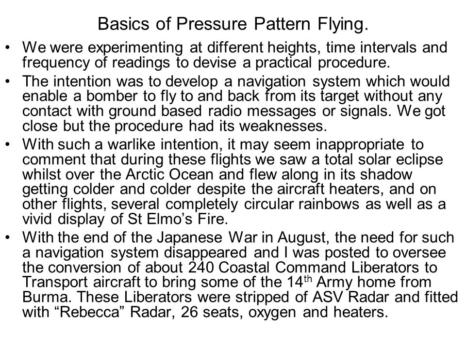 Basics of Pressure Pattern Flying.