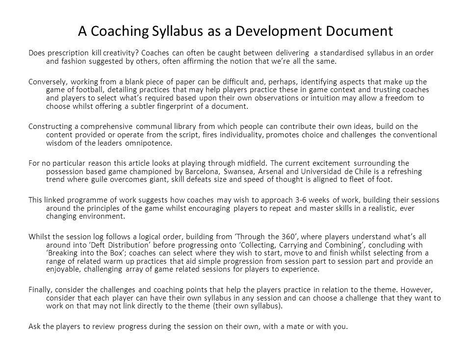 A Coaching Syllabus as a Development Document