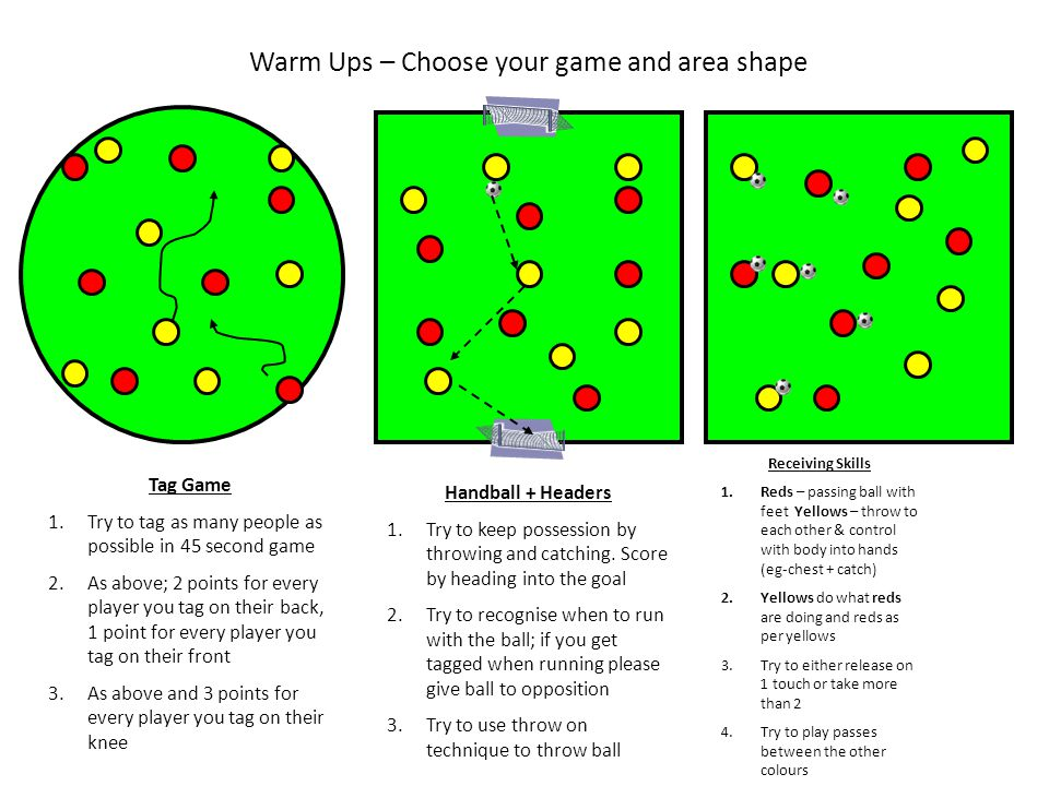 Warm Ups – Choose your game and area shape
