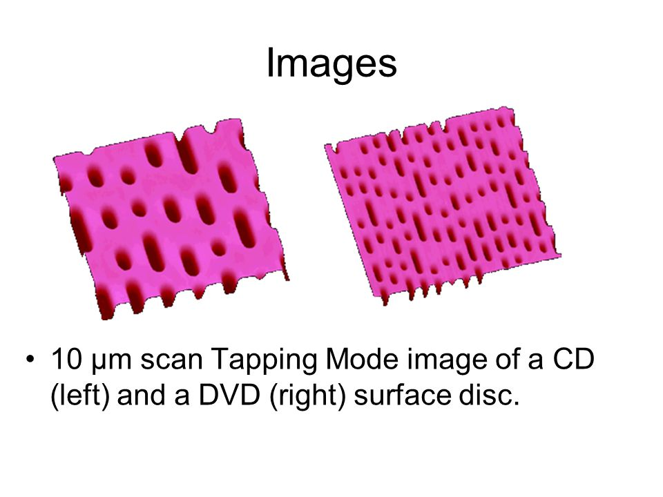 Images 10 µm scan Tapping Mode image of a CD (left) and a DVD (right) surface disc.