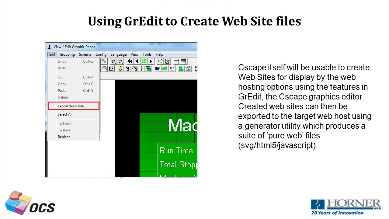 Using GrEdit to Create Web Site files