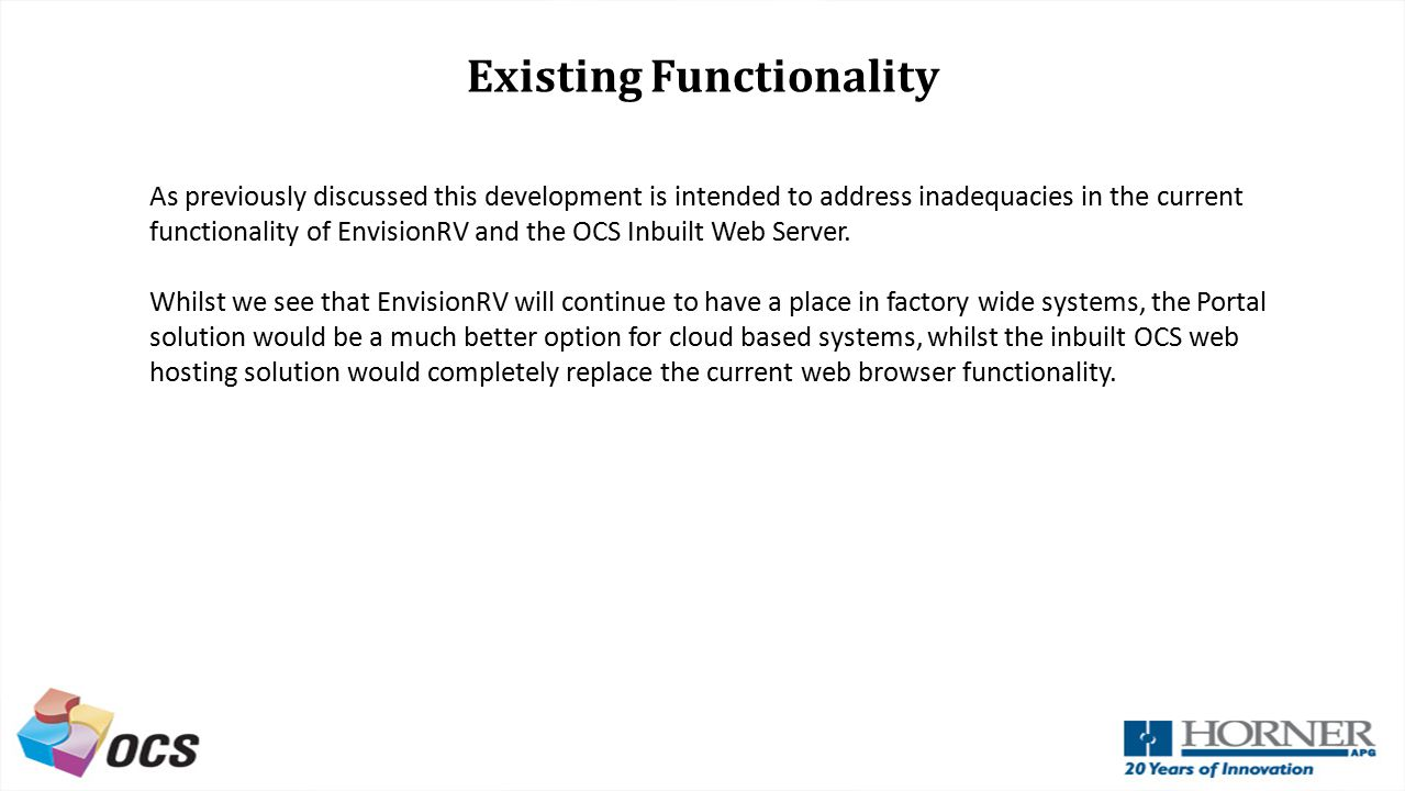 Existing Functionality