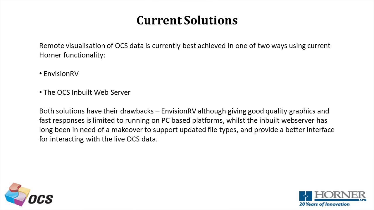 Current Solutions Remote visualisation of OCS data is currently best achieved in one of two ways using current Horner functionality: