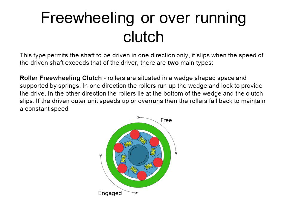 Freewheeling or over running clutch