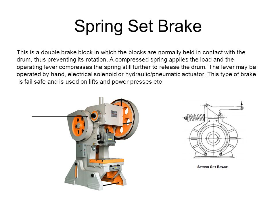 Spring Set Brake This is a double brake block in which the blocks are normally held in contact with the.