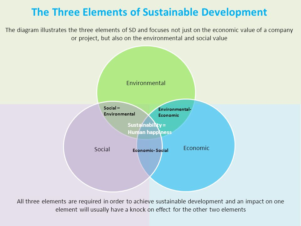 The Three Elements of Sustainable Development The diagram illustrates the three elements of SD and focuses not just on the economic value of a company or project, but also on the environmental and social value