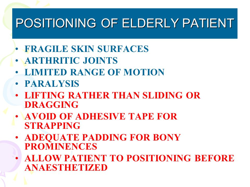POSITIONING OF ELDERLY PATIENT