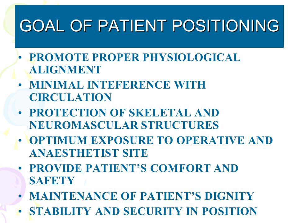 GOAL OF PATIENT POSITIONING