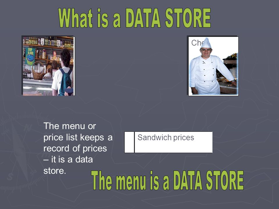 What is a DATA STORE The menu is a DATA STORE