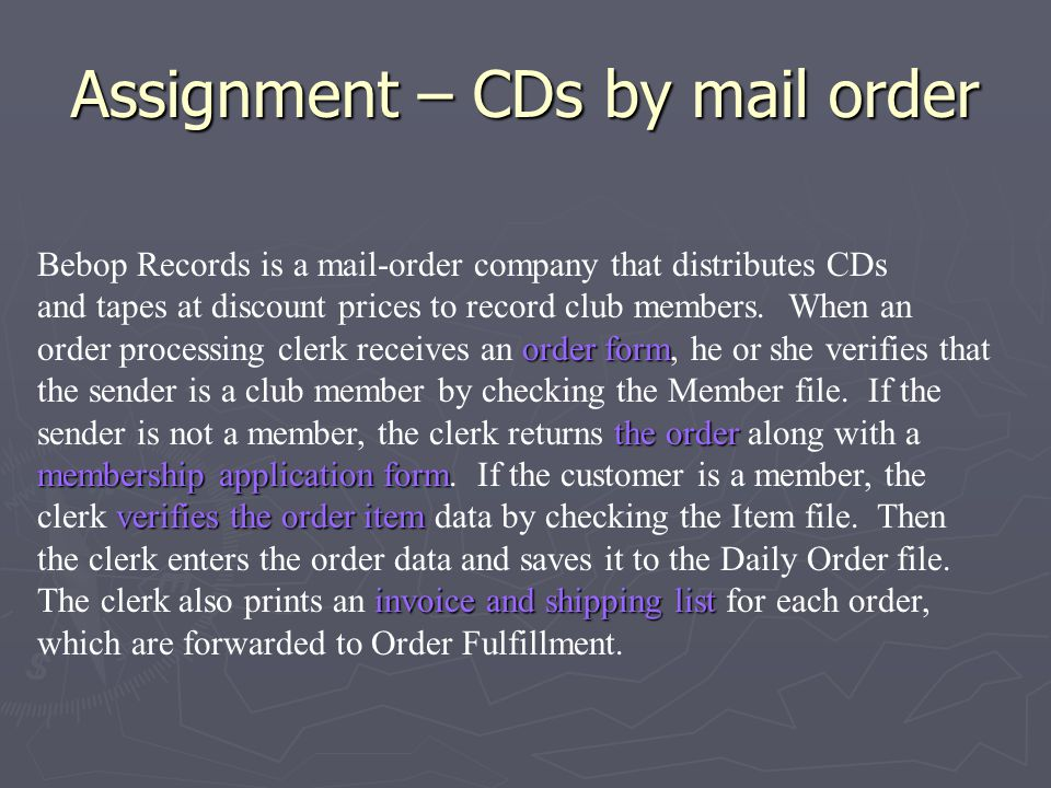 Assignment – CDs by mail order