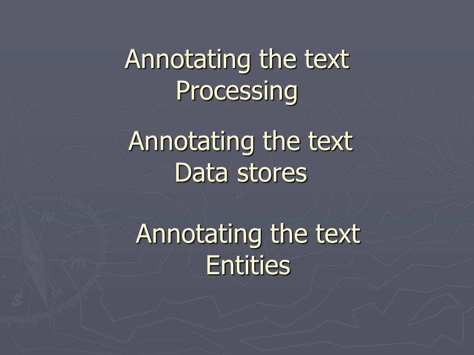 Annotating the text Processing