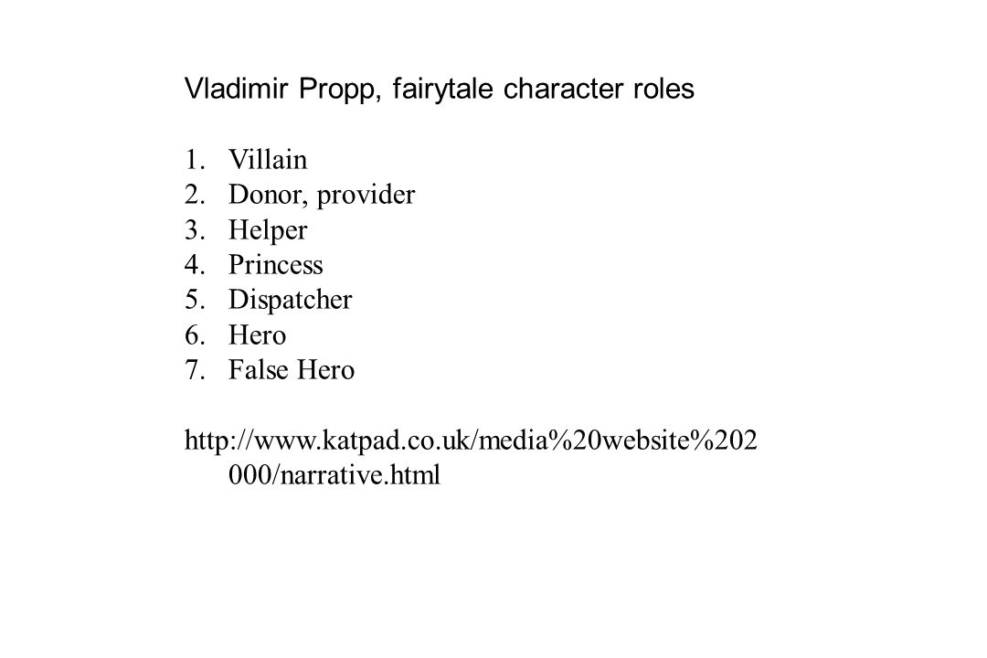 Vladimir Propp, fairytale character roles