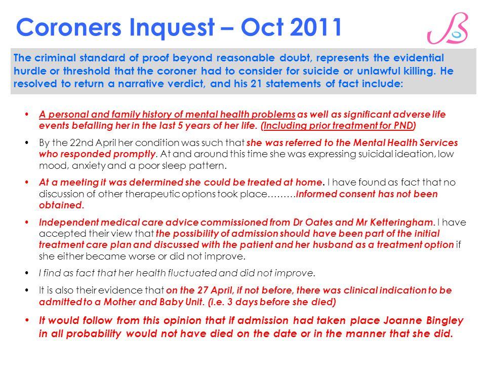 Coroners Inquest – Oct 2011