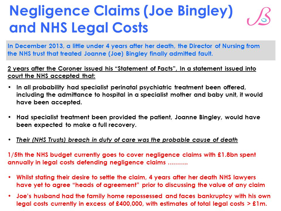 Negligence Claims (Joe Bingley) and NHS Legal Costs