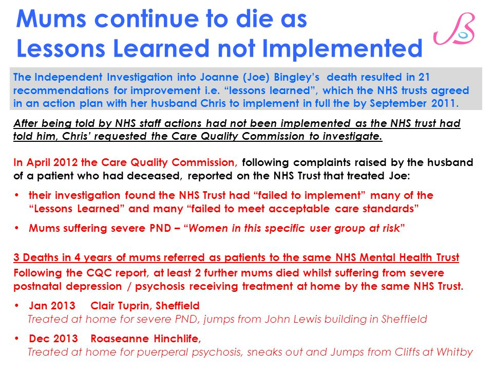 Mums continue to die as Lessons Learned not Implemented