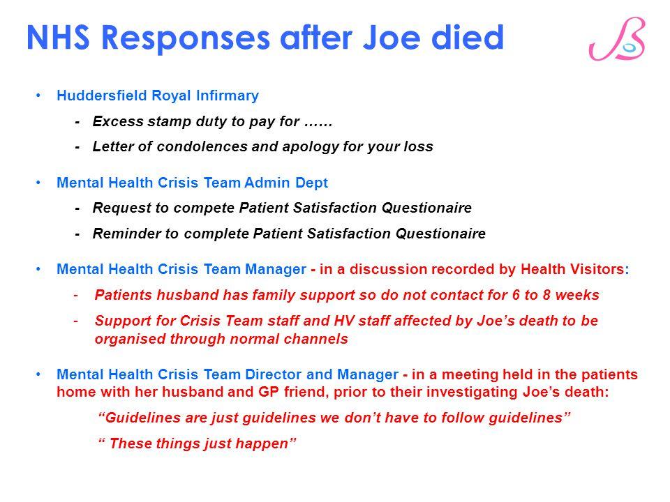 NHS Responses after Joe died