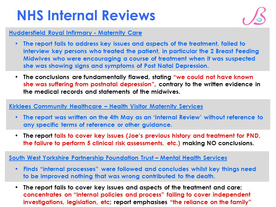 NHS Internal Reviews Huddersfield Royal Infirmary - Maternity Care