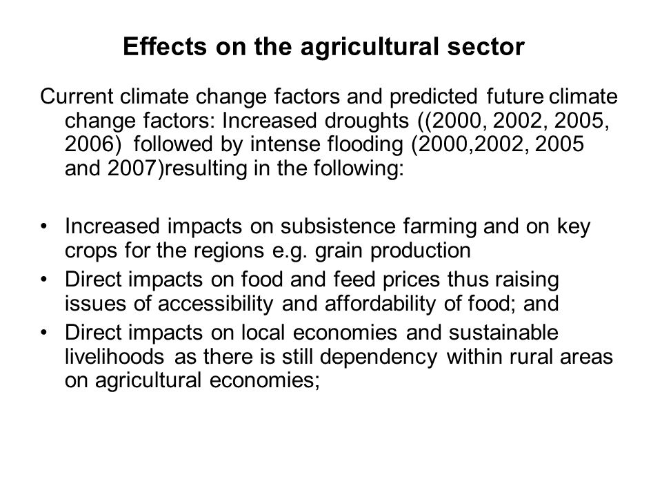 Effects on the agricultural sector