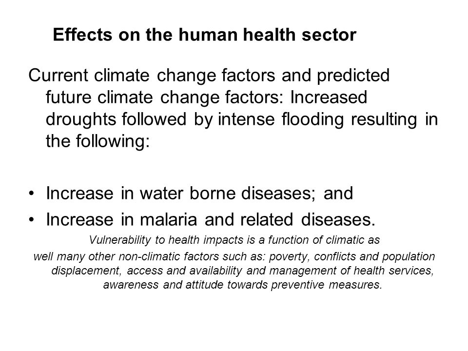 Effects on the human health sector