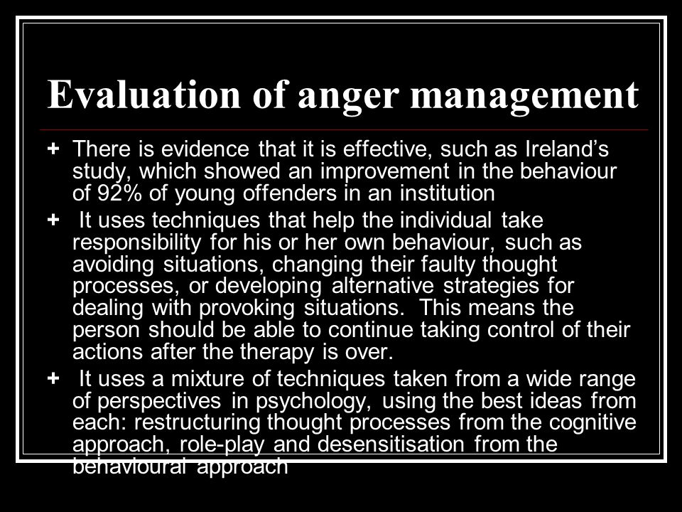 Evaluation of anger management