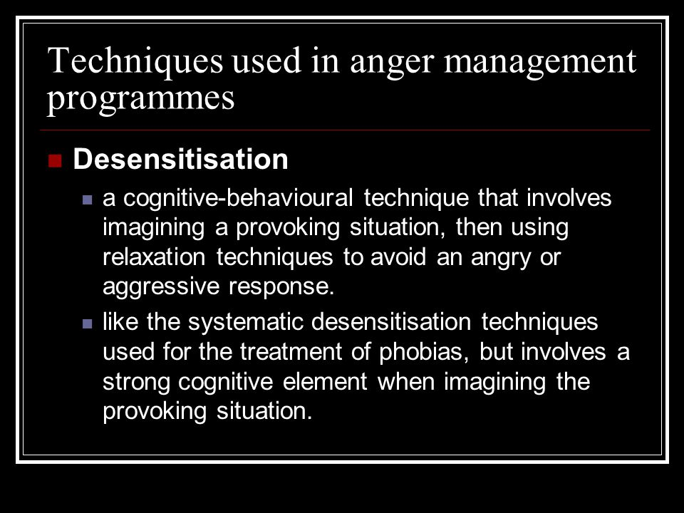 Techniques used in anger management programmes