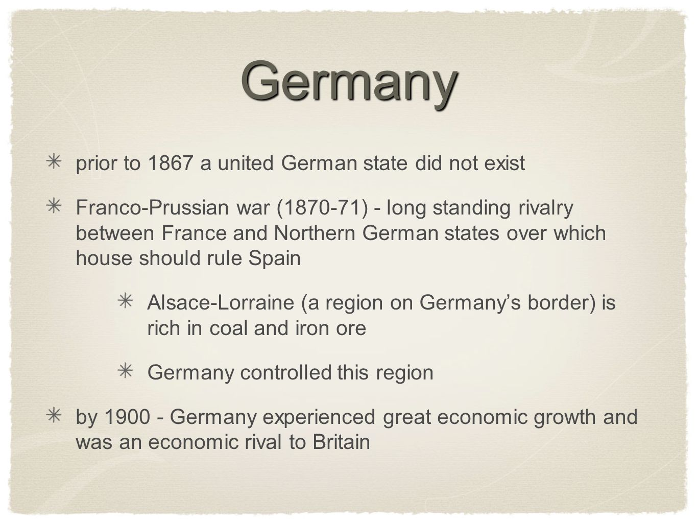 Germany prior to 1867 a united German state did not exist