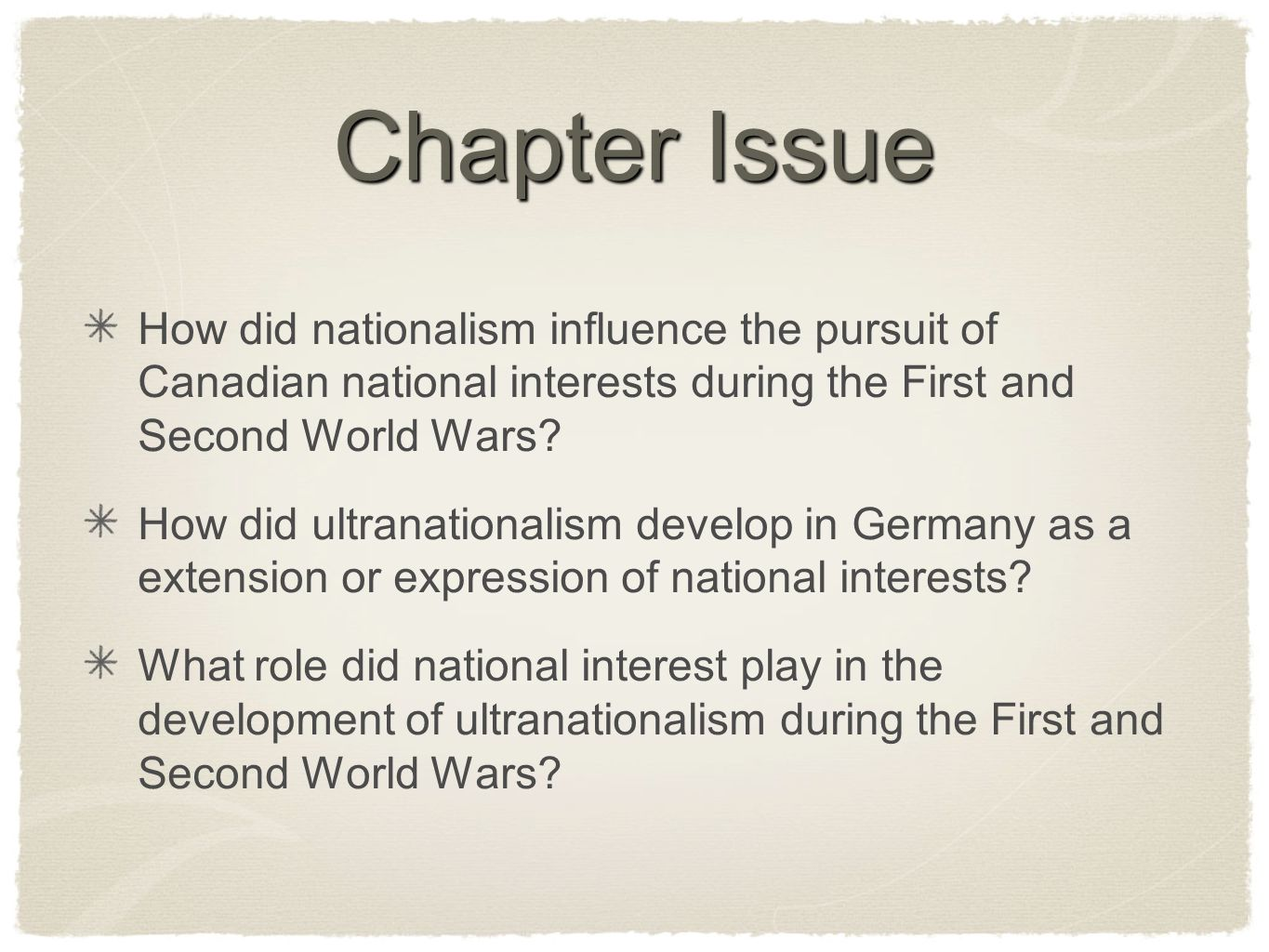 Chapter Issue How did nationalism influence the pursuit of Canadian national interests during the First and Second World Wars