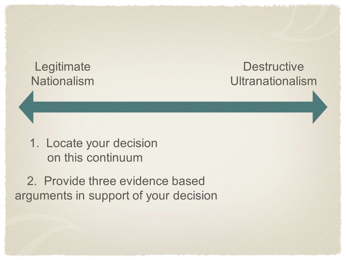 2. Provide three evidence based arguments in support of your decision