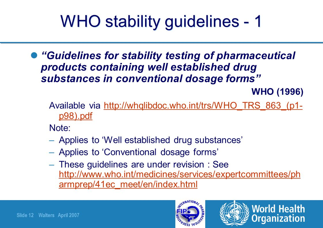 WHO stability guidelines - 1