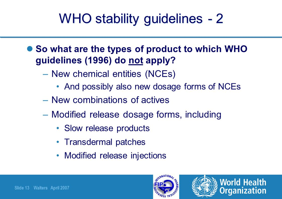 WHO stability guidelines - 2