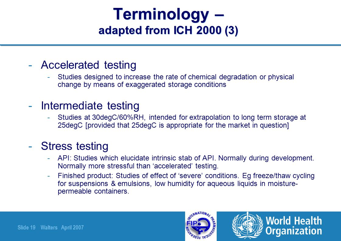 Terminology – adapted from ICH 2000 (3)