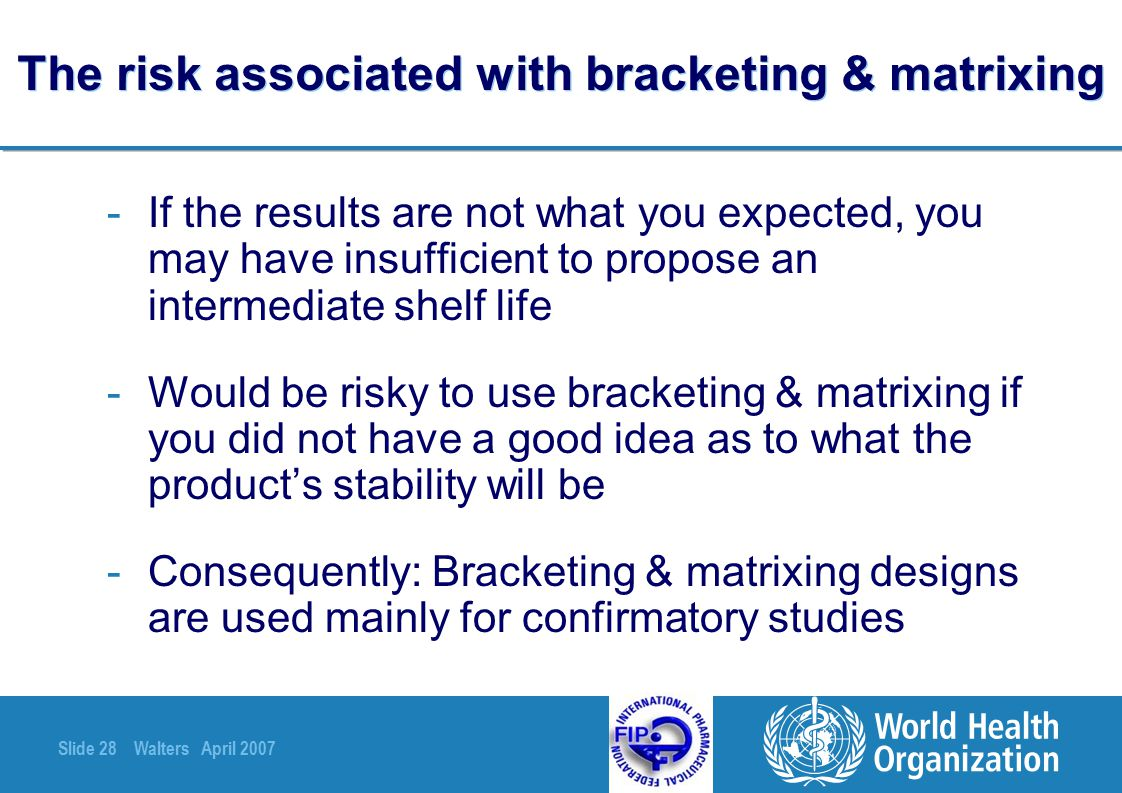 The risk associated with bracketing & matrixing