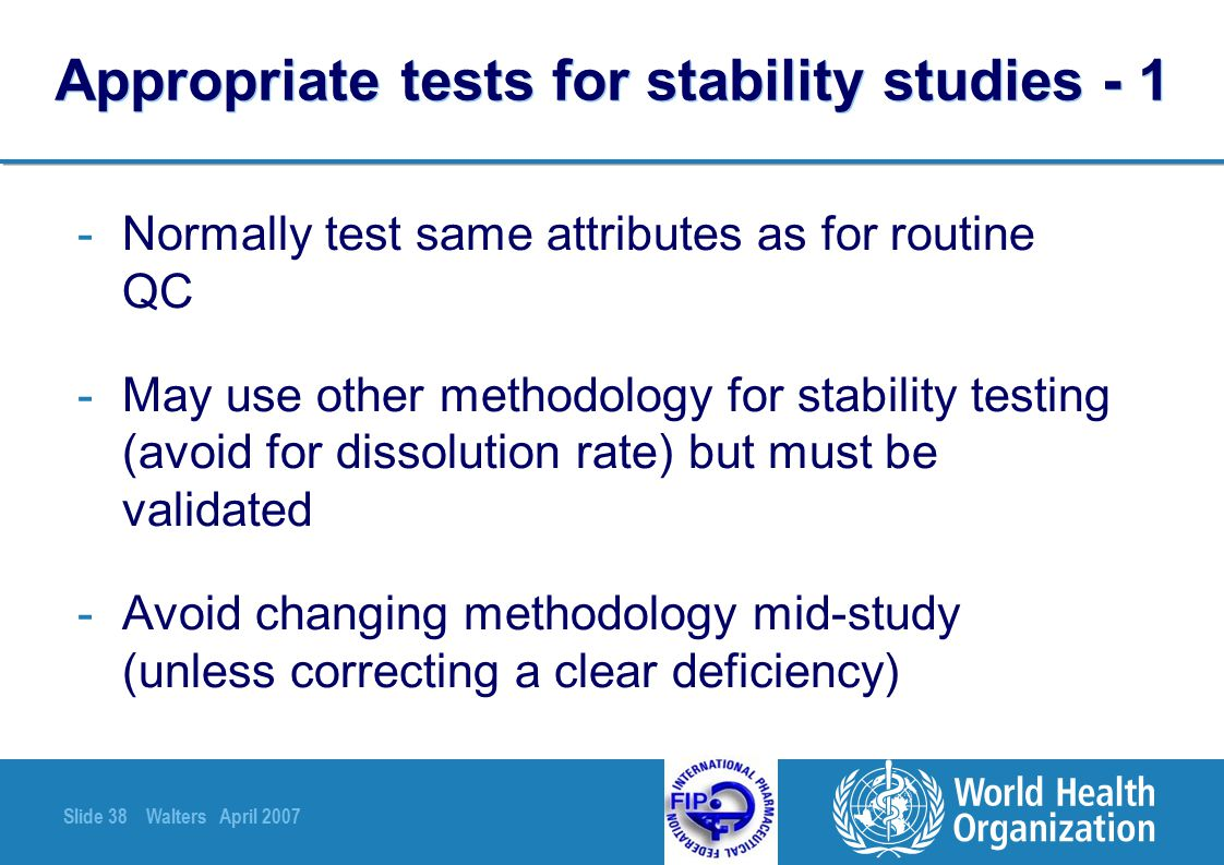 Appropriate tests for stability studies - 1