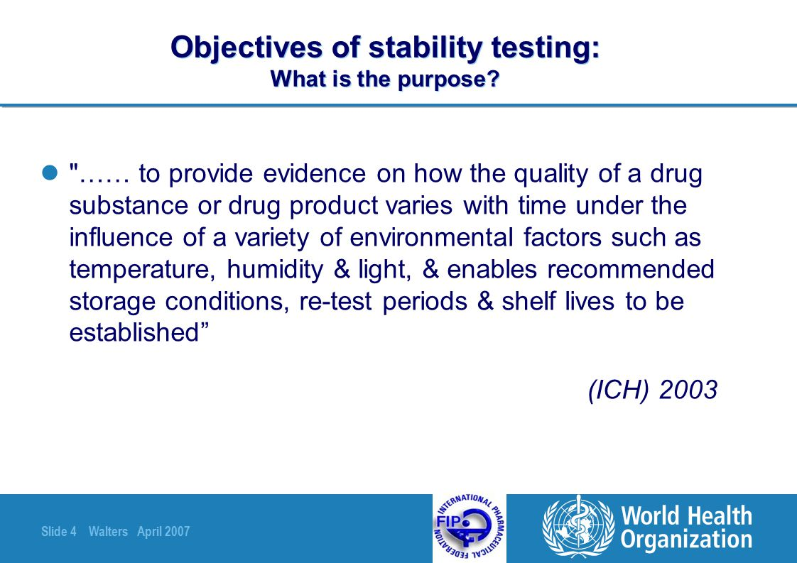 Objectives of stability testing: What is the purpose