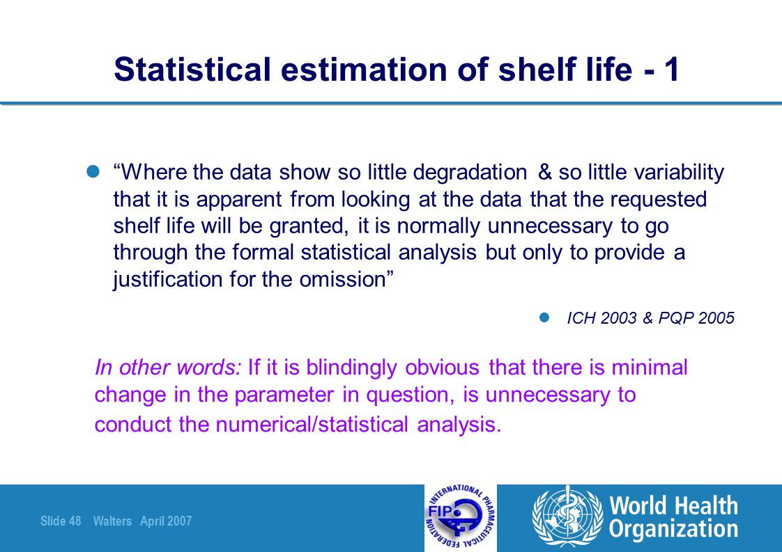 Statistical estimation of shelf life - 1