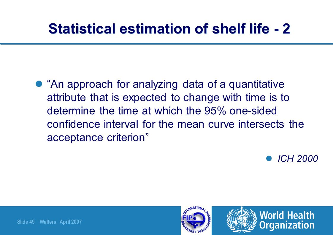 Statistical estimation of shelf life - 2
