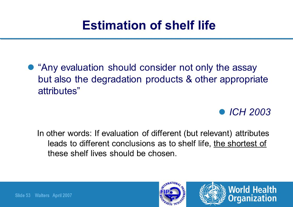 Estimation of shelf life