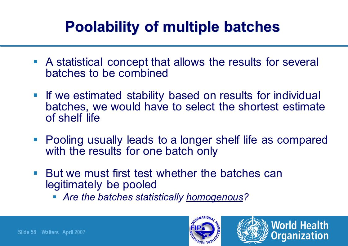 Poolability of multiple batches