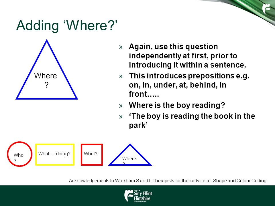 Adding 'Where ' Where Again, use this question independently at first, prior to introducing it within a sentence.